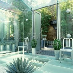 Image Detail for - Modern conservatory with glass flooring and double doors opening to ...