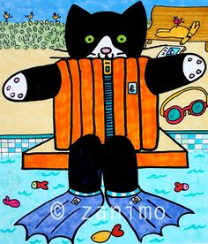 Gofrette at the pool taking a diving lesson, taken from the Gofrette books, colorful wall art, children's art