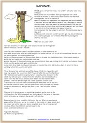 Rapunzel Fairy Tale ESL Reading Worksheet
