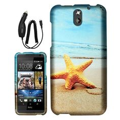 HTC Desire 610 CALMING STARFISH BEACH SOLID RUBBERIZED PLASTIC IMAGE CASE + CC #android
