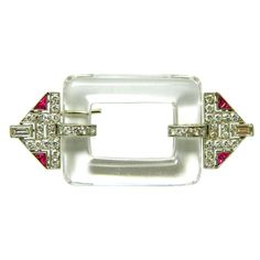 A rare and stunning, Art Deco, platinum, diamond, and rock crystal brooch by Black, Starr, & Frost. 1920's.