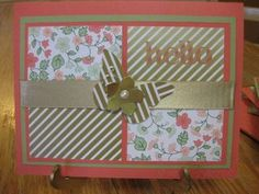 """One Sheet Wonder Technique; Gold Soiree Specialty Designer Series Paper;Four You Stamp Set; 5/8"""" Gold Satin Ribbon; Beautiful Wings Embosslit; Petite Petals Punch; Basis Pearls"""