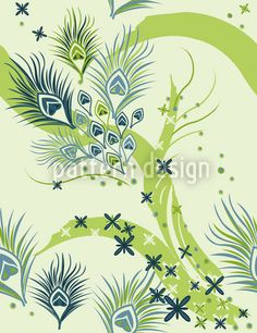 Stylized Peacock Eyes by Martina Stadler available as a vector file on patterndesigns.com Peacock Vector, Vector Pattern, Pattern Design, Spring Blossom, Vector File, Shades Of Green, Surface Design, Safari, Peacocks