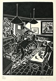 Today we'll go back in time with the beautiful woodcut print of artist Frans Masereel. Well, Frans is considered one of the greatest wood cut artists of the century and the father of the graphic novel. Could it be more I Love Belgium material? Linocut Prints, Art Prints, Block Prints, Graphic Illustration, Graphic Art, Contrast Art, Black And White Drawing, Wood Engraving, Gravure