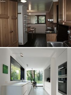This kitchen received a dramatic makeover, with the old dated cabinets and dark floors replaced with bright white cabinets and a light floor. The windows were replaced and the kitchen now looks out onto the backyard through floor-to-ceiling windows.