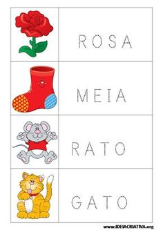 Fichas para imprimir com figuras e palavras pontilhadas Montessori, Learning Games, Preschool, Kids, Alice, Abc Centers, Letter E Activities, Reading Activities, Kids Learning Activities