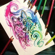 84- Decorative Wolf by Lucky978.deviantart.com on @DeviantArt