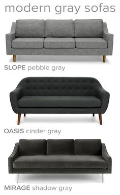 A gray sofa is the perfect neutral to ground an airy room or blend into dark walls. Explore with different shades, temperatures, and fabrics.
