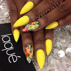 nails -                                                      Summer stiletto nails: yellow with floral accent nails done by #laquenailbar