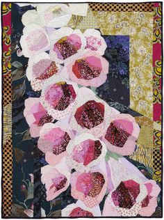 """Foxgloves, 33"""" x 44 1/2"""", 2008 by Ruth B. McDowell.  Featured at Quilters Newsletter, April/May 2014."""