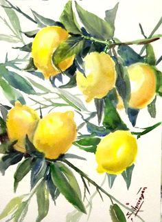 Árbol de limones, pintura Oriingal acuarela, 12 X 9 en, arte del árbol de limón, el arte de la pared de la cocina, amarillo
