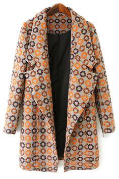 Circle Pattern Long Sleeve Coat