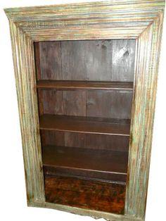 Antique Rustic Carved Bookcase Wooden Bookshelf 81x50 India Furniture