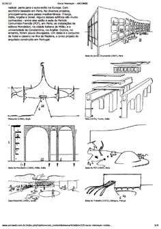 O processo de criação de Oscar Niemeyer através de croquis e de textos. Oscar Niemeyer, Organic Architecture, Sketches, Drawings, Design Projects, Buildings, Designers, Concept, Shapes