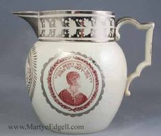 Pearlware silver resist decorated jug commemorating William Henry West Betty the British Child Actor, circa 1804