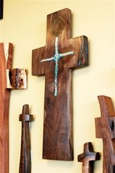 Beautiful Rustic walnut wooden cross with turquoise and copper inlay