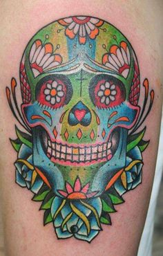 A colorful Day of the Dead sugarl skull tattoo design, also known as a calavera tattoo