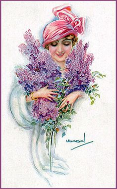 Lady with lilacs