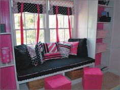 Build a window seat in Izzy's new room. Love these colors! Cozy Office, Home Office Decor, Home Decor Bedroom, Bedroom Ideas, Window Seat Storage, Window Seat Cushions, Window Seats, Room Window, Dream Bedroom