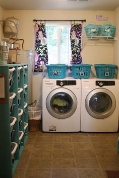 BeingBrook: Laundry Room Update {Ana White Laundry dressers}.  This could totally be my basement. Paint walls & pipes neutral beige (shut-off valves brightly painted of course) and add some nice drapes and lighting. Done and done.