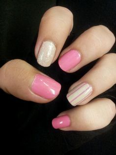Pink & strips simple cute nail design