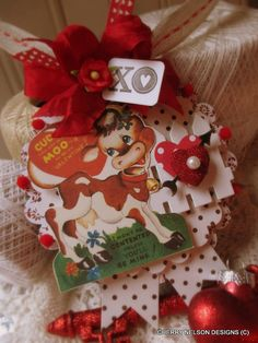 kitschy valentine ornament-VALENTINE COW MOO handmade ornament tag