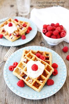 Coconut Raspberry Waffles with Coconut Whipped Cream Recipe on twopeasandtheirpod.com
