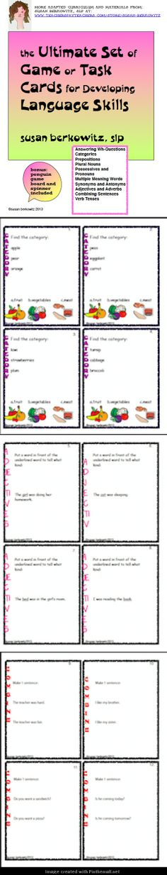 A bundle of my game/task cards for language development.  Work on each student's targets! - created via http://pinthemall.net:   http://www.teacherspayteachers.com/Product/Ultimate-Game-or-Task-Card-Bundle-for-Language-Development-Speech-Therapy-998671:$