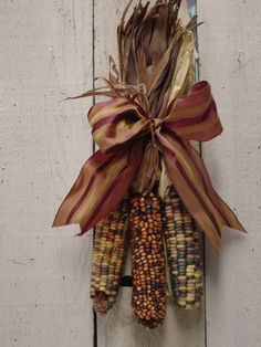 INDIAN CORN SWAG / Fall door wreath / Harvest decoration / fall centerpiece / Wall or hearth decoration. Outside Fall Decorations, Harvest Decorations, Thanksgiving Decorations, Hanging Decorations, Holiday Decorations, Fall Wreaths, Door Wreaths, Glass Gem Corn, Primitive Fall