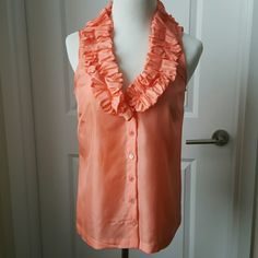 Jcrew retail silk button-down top w/ruffle collar Beautiful peach/coral colored silk Jcrew top. Great condition. jcrew Tops Blouses