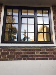Black aluminium timber fix fix window with external Georgian bars Aluminium Windows And Doors, Metal Windows, Wooden Windows, Casement Windows, House Windows, Black Windows Exterior, Wooden Window Design, House Window Design, Home Exterior Design