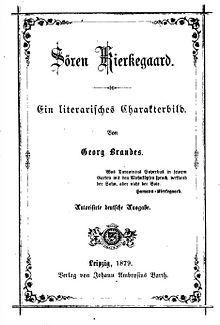 Søren Kierkegaard - 1879 German edition of Brandes' biography about Søren Kierkegaard