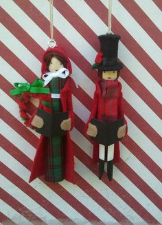 Christmas Carolers Clothespin Doll Ornaments by LittleParade, $24.00