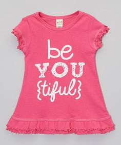 Look what I found on #zulily! Hot Pink & White 'Be You Tiful' Dress - Infant, Toddler & Girls #zulilyfinds