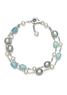 Belk & Co. Sterling Silver Milky Aquamarine and Freshwater Pearl Bracelet Silver Necklaces, Sterling Silver Bracelets, Silver Earrings, Silver Jewellery, Earrings Uk, Jewellery Earrings, Pearl Jewelry, Crystal Jewelry, Jewelry Bracelets