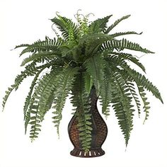 Nearly Natural 6629 Boston Fern with Urn Decorative Silk Plant Green >>> Visit the image link more details.