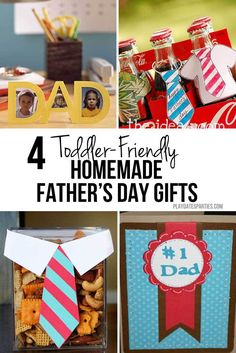 Father's love all sorts of gifts, but it's the homemade Father's Day gifts that really hit the spot. These 4 homemade gifts are toddler-friendly and cute!