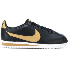 Nike Cortez sneakers (€115) ❤ liked on Polyvore featuring shoes, sneakers, black, round cap, black sneakers, nike shoes, nike trainers and round toe shoes