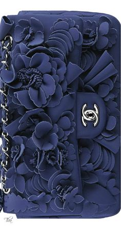 Chanel ● Resort 2015 gorgeous laser cut floral blue clutch