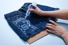 How to Make Bleach Printed Shorts #bleach #jeans #bleachjeans