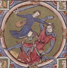 Bible moralisée  - Biblia historica-allegorica iconologica Veteris Testamenti cum textu marginali gallico. 2. Viertel 13. Jhdt. (1225-1249) Cod. 2554 Folio 98
