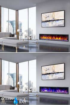 Check out this modern room featuring our smart, ventless, and visually stunning built-in electric fireplace. Designed to be flush-mounted in a wall, it is more than just an eye-catching wall accent for any room. Built In Electric Fireplace, Fireplace Inserts, Modern Room, Building, Wall, Design, Buildings, Design Comics, Construction