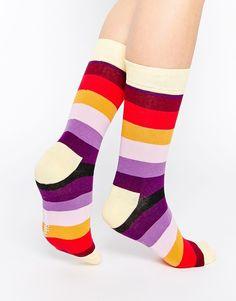 Socken von Happy Socks Stoff mit hohem Baumwollanteil Streifenmuster gerippte Abschlüsse Maschinenwäsche 80% Baumwolle, 17% Polyamid, 3% Elastan