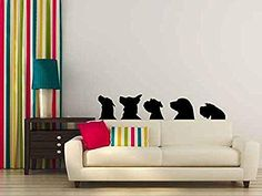 Dog Heads Silhouette Vinyl Wall Decal Sticker Graphic