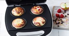 Cooked in a Kmart pie maker so they're ready in 20 minutes, this one simple muffin batter can be used to make 4 different types of muffins: raspberry, choc chip, apple and fairy bread.