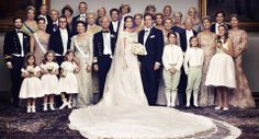 Official Portrait of the Swedish Royal Wedding: Princess Madeleine of Sweden & Christopher O'Neill. Some of the guests: Second row, left to right: Prince Carl Philip, Princess Victoria and Prince Daniel... In the third row: Princess Benedikte, Andreas of Saxe-Coburg and Gotha, Princess Christina Magnuson... Back row: Baron Niclas Silfverschiöld Princess Désirée, Baroness Silfverschiöld, General Tord Magnuson, Princess Margaret, Princess Birgitta
