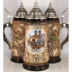 This beautiful beer stein was handcrafted in Germany by Zoeller & Born. This attractive stoneware stein has a pewter lid. This is a liter stein. Approximately inches tall This beer stein features a scene from Octoberfest in Munich on the Pale Ale Beers, Personalized Beer Mugs, German Beer Steins, Oktoberfest Beer, Beer Lovers, Craft Beer, Germany, Vintage Pantry, Cruise Europe