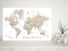 Atención, alerta! El mapa más vendido, ahora disponible con nombres en españo!! Ya no tienes excusa!  Abey: Mapamundi personalizado para marcar viajes, tonos neutros de acuarela (etiquetas en español)  #MapaDelMundo #MapaMundiTipoCorcho #mapa #corkboard #MapaMundialParaChinchetas #DigitalDownload #aventuras #IdeaRegalo #CitaPersonalizada #MapaParaChincheta #CiudadesEnEspañol #corchera #español #acuarela #castellano