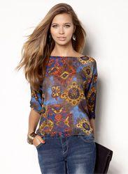 386efc44eb2ec Camisa blusa mujer manga 3 4 estampada Patrones Blusas