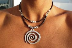 Hey, I found this really awesome Etsy listing at https://www.etsy.com/listing/272000624/spiral-necklace-black-necklace-necklaces